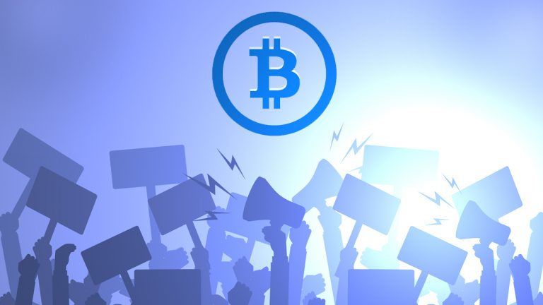group of salvadorans take to the streets to protest el salvadors new bitcoin law